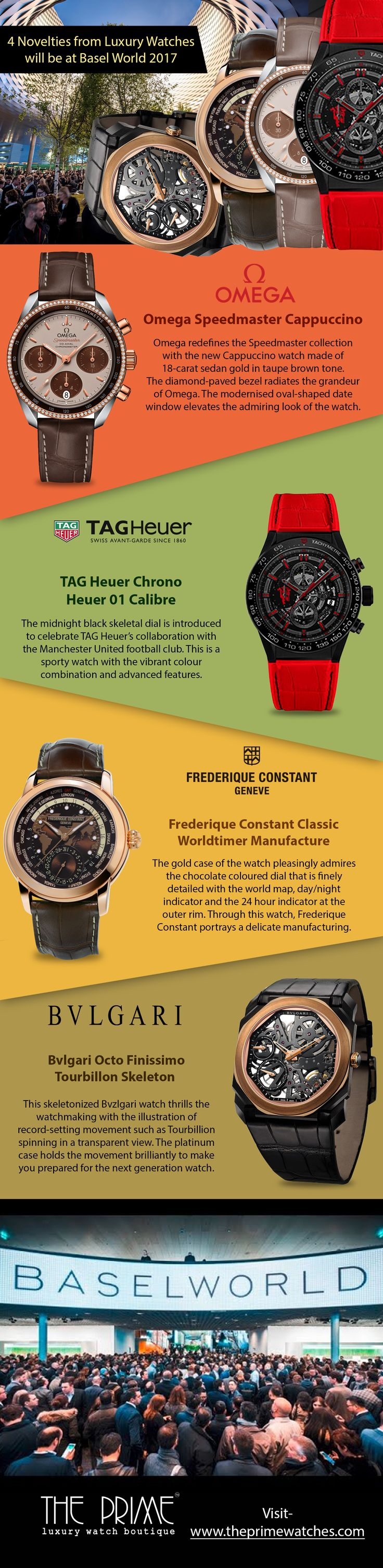 There are different watches brands that create luxury watches to cater the needs of watch lovers.These four extraordinary timepieces belong to Omega, TAG Heuer, Frederique Constant and Bulgari.