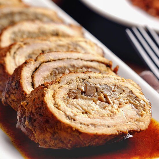 Slow Cooker Mushroom-Stuffed Pork Roulade. A classic pork preparation adapted for braising in the slow cooker. Delicious and easy to make!