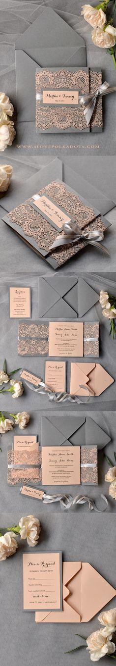 Peach & Grey Lace Wedding Invitations #perfectwedding #weddingideas #lace…