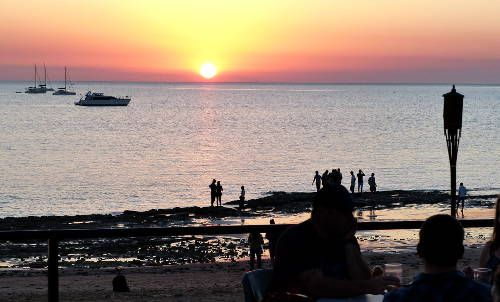 Sunset over Fannie Bay Darwin at the Trailer Boat Club, just one of the many clubs and resaurants around Darwin which provide a spectacular view over the water.