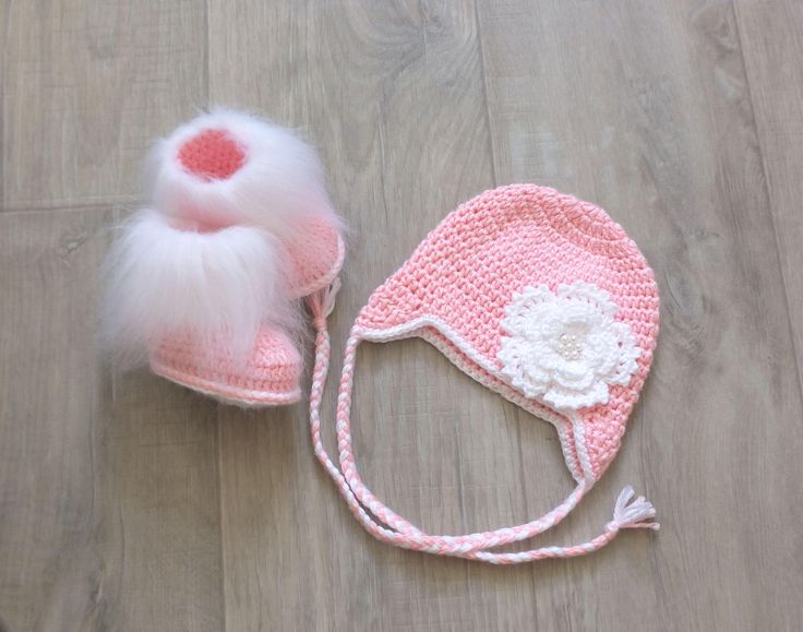 Pink Baby Girl Hat and booties set - Newborn Girl Hat and Booties - Faux fur booties - Flower hat - Crochet Baby Girl clothes - Baby gift by HandmadebyInese on Etsy