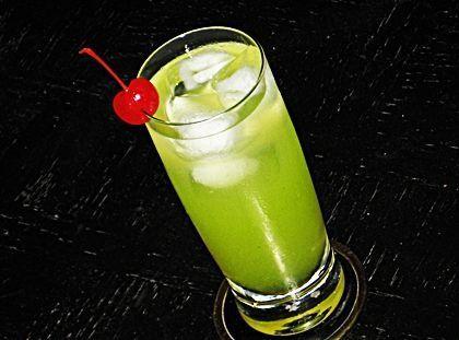 Pain In The Ass (1 oz. Melon Liqueur .5 oz. Bacardi 151 Rum 1 oz. Malibu Coconut Rum .5 oz DeKuyper Sour Apple Schnapps 2 oz. Pineapple Juice 2 oz. 7-Up Cherry to garnish)