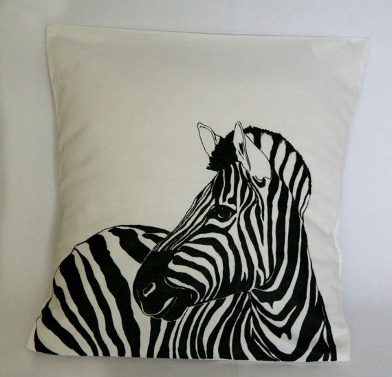 Zebra decorative hand-made pillow cover animal by FennekArtDesign