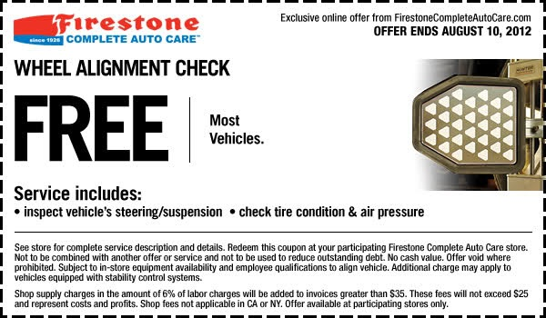 Get Free Wheel Alignment Check In-store Printable Firestone Coupon