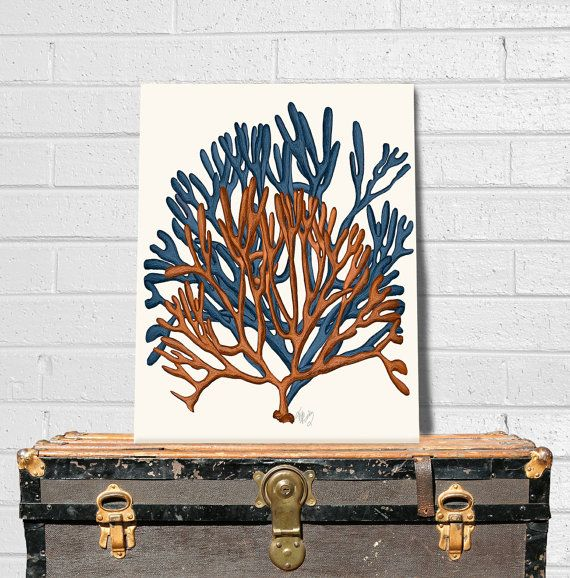 Coral home decor - Blue and Orange Coral Print 1 - sea coral print Blue art Blue home decor coastal decor coral wall art sea coral décor