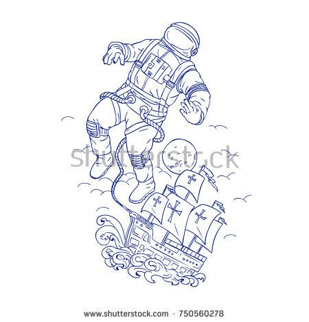 Drawing sketch style illustration of an astronaut or spaceman tethered to Portuguese caravel or galleon ship floating in space with moon in background.  #astronaut #galleon #sketch #illustration
