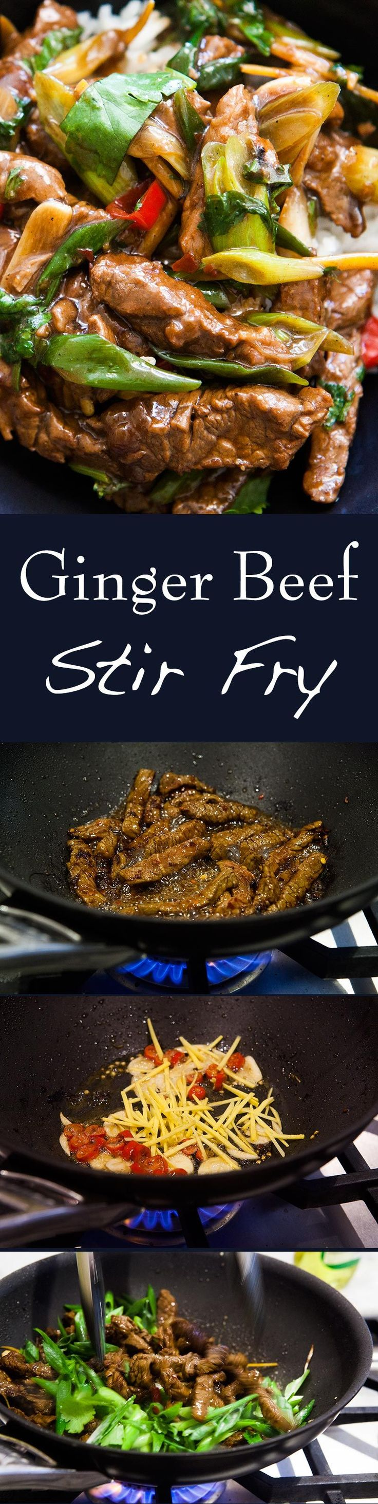 #ChineseNewYear Easy Beef Stir Fry! With ginger and scallions and a honey soy marinade. Cooks up in minutes! On SimplyRecipes.com