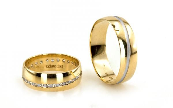 Romantické svadobné obrúčky so zirkónmi 14 karátové zlato