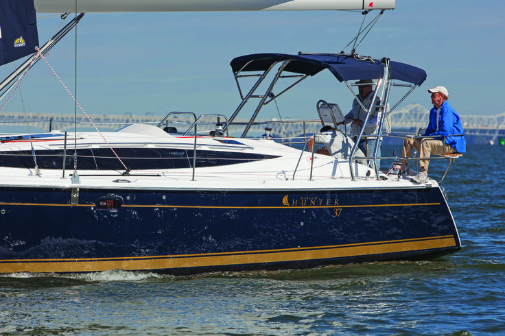 1.  The New Marlow-Hunter 37 is a stunning cruiser that is larger than any of her competitors and by far the largest volume sailboat on the market under 40 feet .