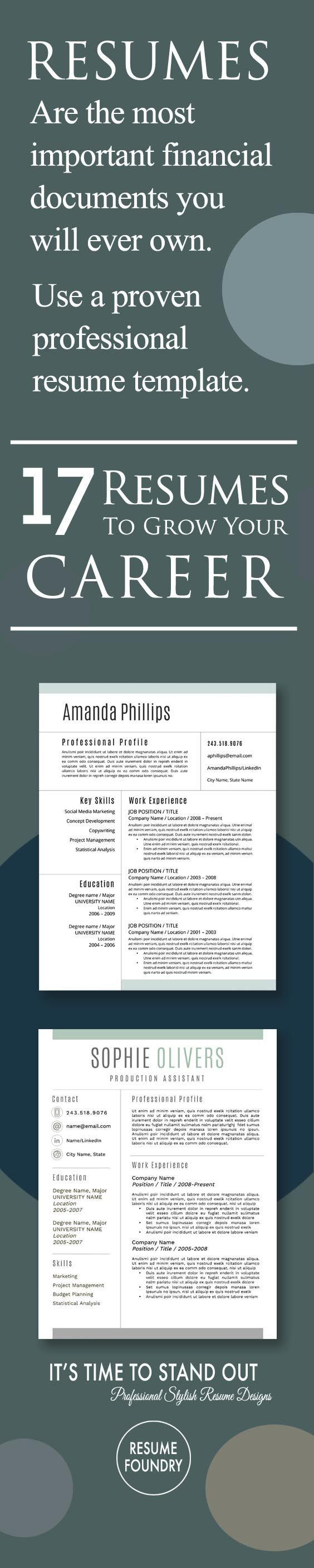 Resumes are the most important financial documents you will ever own. Use a proven professional resume template. Resume Foundry.