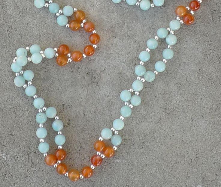 Amazonite and Agate tantric mala Turquoise and Orange Tantric Mala