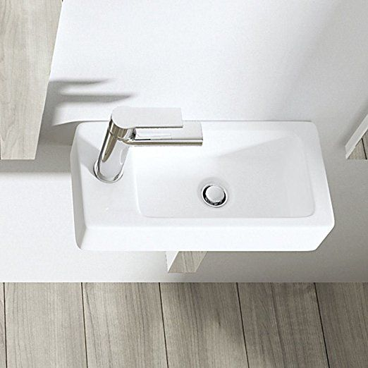 Durovin Small Mini Hand Cloakroom Sink Wall Hung Mount One Tap Hole Easy Clean Wash Basin Rectangle Square 18 x 36 x 9.5 cm (Basin Only)