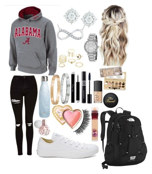 """School 47"" by ella-goodness on Polyvore featuring Topshop, Charlotte Russe, S'well, Converse, Michael Kors, Mémoire, Cartier, The North Face, Christian Dior and Too Faced Cosmetics"