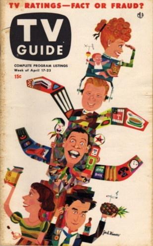 Lucille Ball, Arthur Godfrey, Milton Berle, Imogene Coca, Sid Caesar    April 17-23 1953  Illustration by Jack Weaver