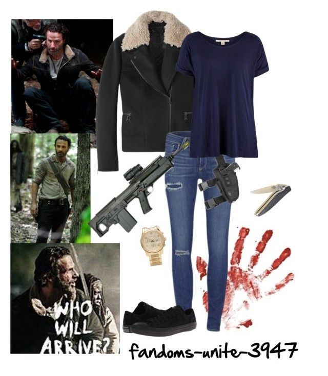 """DIY Halloween Costumes: Rick Grimes"" by fandoms-unite-3947 ❤ liked on Polyvore featuring Belstaff, Michael Kors, Paige Denim, Forge de Laguiole and Converse"
