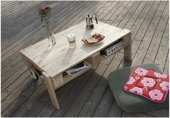 Pallet table, i want to make one of these, would make a cool coffee table