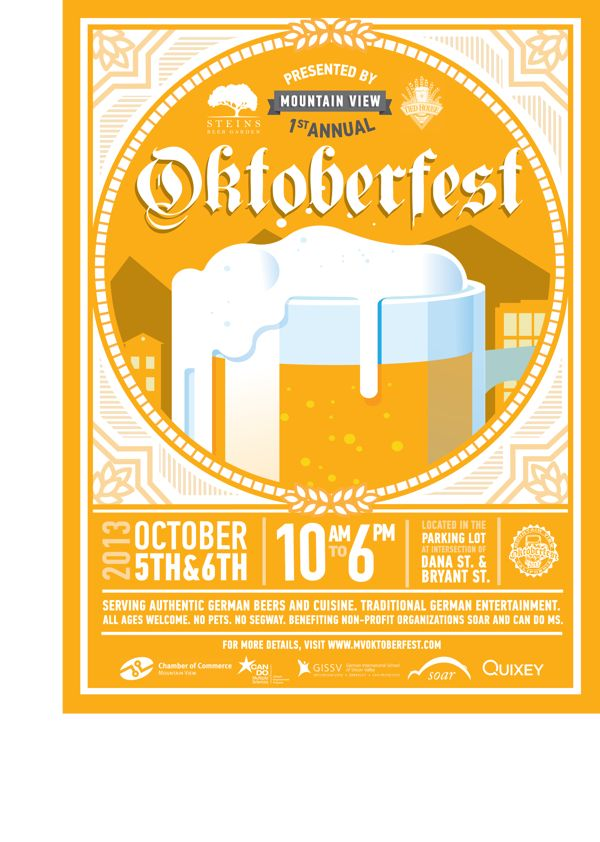 Steins Beer Garden Oktoberfest Poster by Michelle Min, via Behance