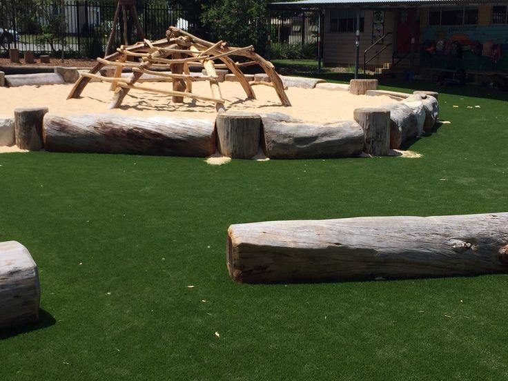 Primary School Climber and balance logs #climber #playground #logs #retaining wall