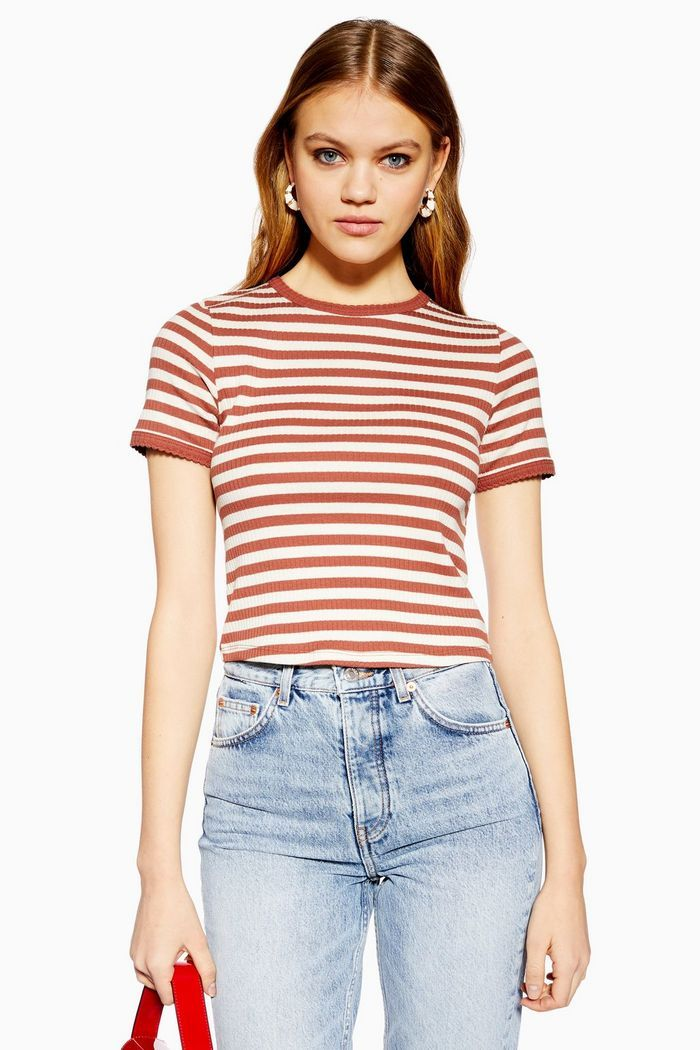 551416f8a Short Sleeve Stripe Scallop T-Shirt in 2019 | Tops | Scalloped shirt ...