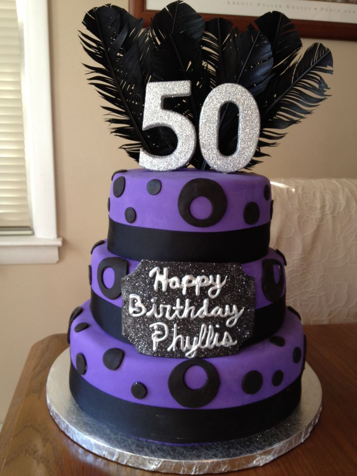 Black And Purple 50th Birthday Cake Baking Pinterest