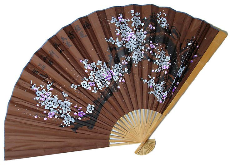 Snow Flakes - Wall Hanging Fan (Bamboo and Silk Cloth)