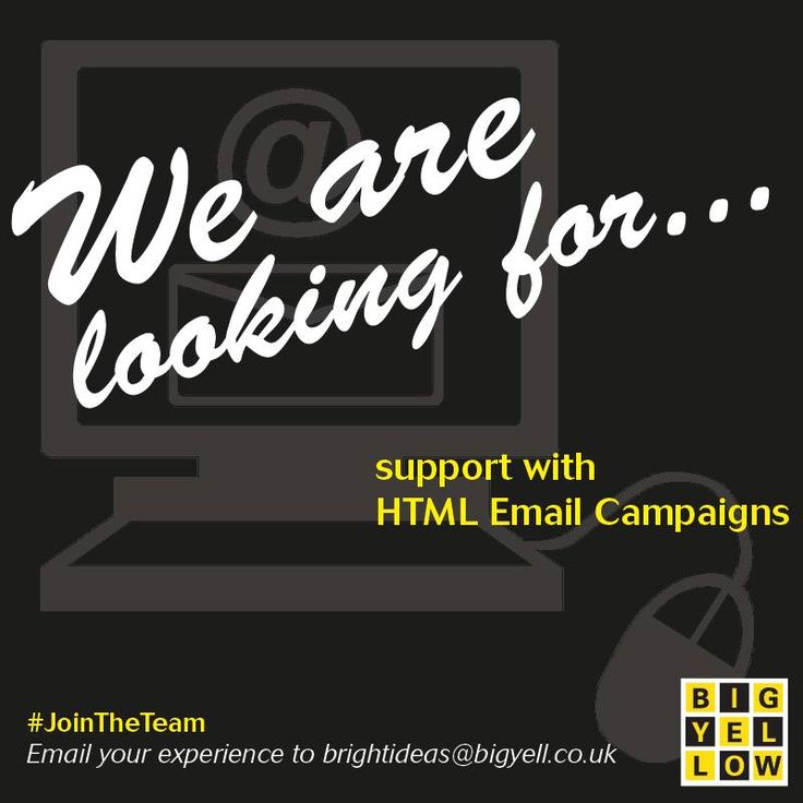 ⭐ Are you experienced in HTML Email Campaigns? ⭐ We are looking or someone who has expertise in HTML Email Campaigns to #JoinTheTeam and support us in some upcoming projects! Drop us an email today with your experience to brightideas@bigyell.co.uk #BigYellow #Marketing #WebsiteDevelopment #WebsiteDesign #WebsiteMaintenance #design #support #wearelooking