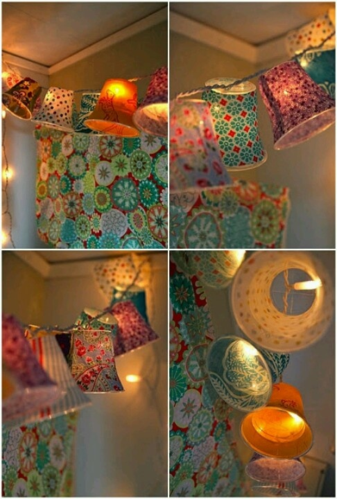 Paper Cup Lanterns- Ive made these before and they turned out fantastic! but theyre for the kids rooms- I want to make more for the patio this year