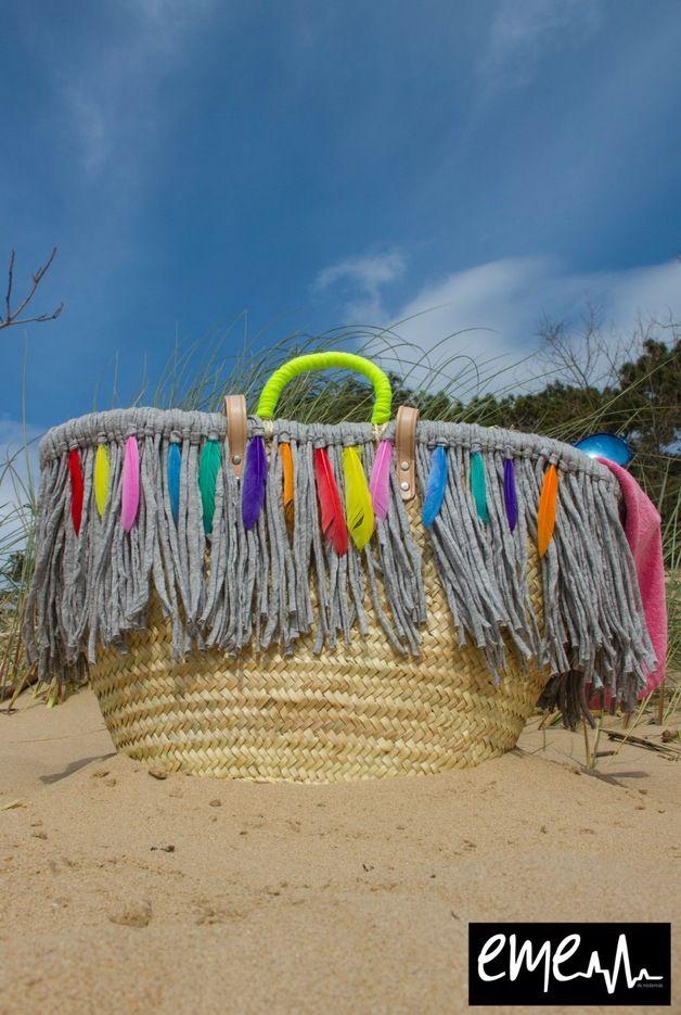 Bolsos de playa - Capazo Gris Plumas - hecho a mano por EMEDEMODERNAS en DaWanda