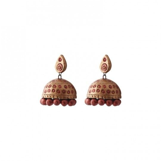 Bronze and copper jhumkas with oval stud