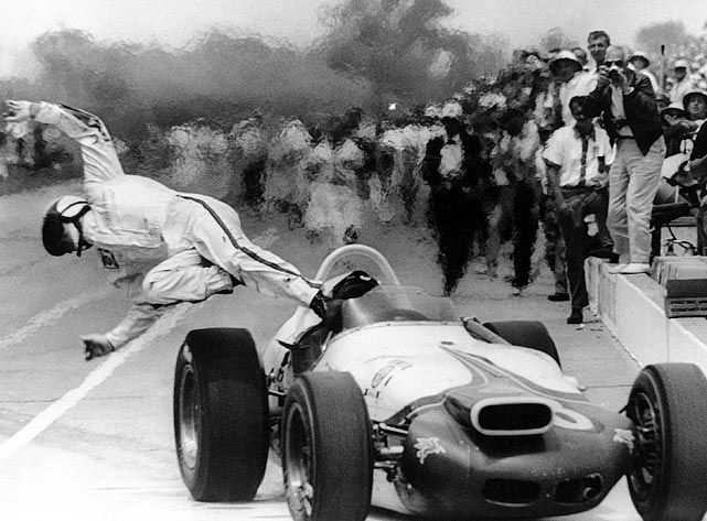 1964 Indy Parnelli Jones... The type of fuel they used burned with a clear/invisible flame. I think he was on fire in the pits.