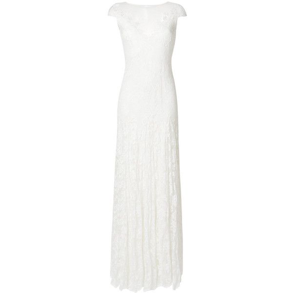 Olvi´S lace-embroidered flared dress ($2,805) ❤ liked on Polyvore featuring dresses, white, lace fit-and-flare dresses, white lace dress, white embroidery dress, flare dresses and white flared dress