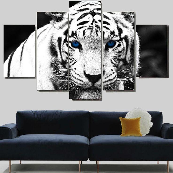 White Tiger Print Unframed Split Canvas Paintings - WHITE 1PC:8*20,2PCS:8*12,2PCS:8*16 INCH( NO FRAME )