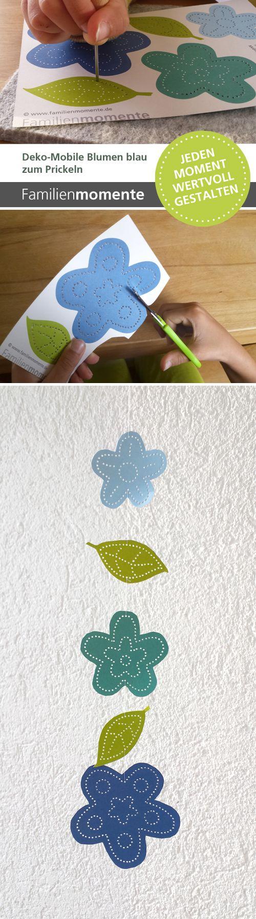 Deko-Mobiles zum Prickeln - mit blauen Blumen und Blättern - ergibt ein schönes Mobile oder eine Girlande - sieht wunderschön vor dem Fenster aus - wo das Licht hindurch scheint. Prickeln - alte Basteltechnik neu entdeckt - zur Förderung der Feinmotorik und Konzentration.