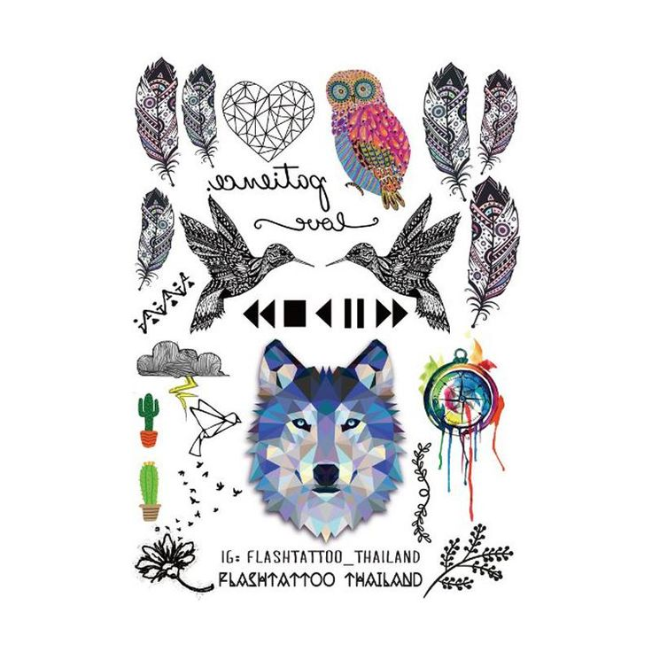 Taty אמנות גוף קעקועים זמני גדול גברים נשים Fashio ינשוף סיטונאי מדבקת קעקוע זאב נוצות בצבע קעקוע נייר