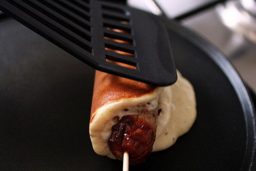 homemade sausage in a pancake on a stick | Eat | Pinterest