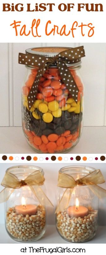 BIG List of Fun Fall Crafts! ~ You'll love these fun Autumn Craft Ideas, Gifts in a Jar, and fabulous Home Decor Projects! | TheFrugalGirls.com