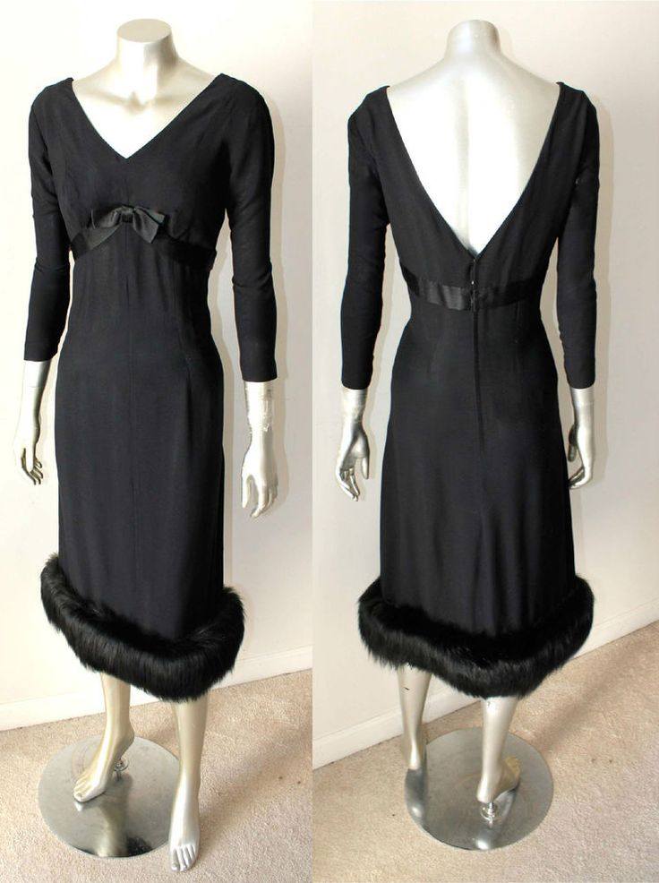 Real Fox Fur Holiday VTG 50s 60s Crepe Party Black Midi Empire Bow A Line Sz M