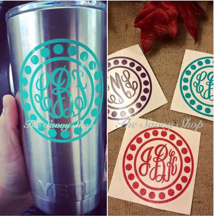 Yeti Monogram Decal - Yeti Decal - Cute Monogrammed Decal - Dots Monogram Decal by TheSavvyLady on Etsy https://www.etsy.com/listing/254459753/yeti-monogram-decal-yeti-decal-cute
