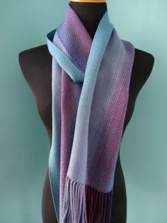 Color Gradation Plaited Twill Scarf / Gray Blue Weft / Handwoven