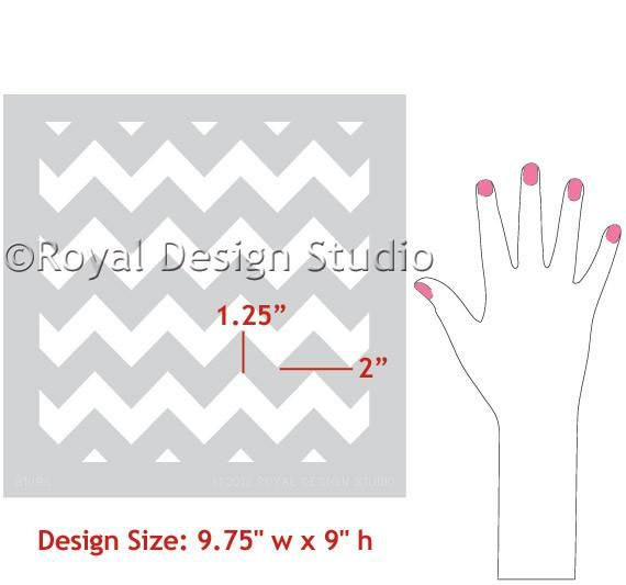 Our modernChevron Furniture Stencil sized for craft and furniture stenciling projects. Stencil zigzag stripes with easy built-in registration for perfect align