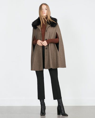 HOUNDSTOOTH CAPE-Coats-Outerwear-WOMAN | ZARA United States
