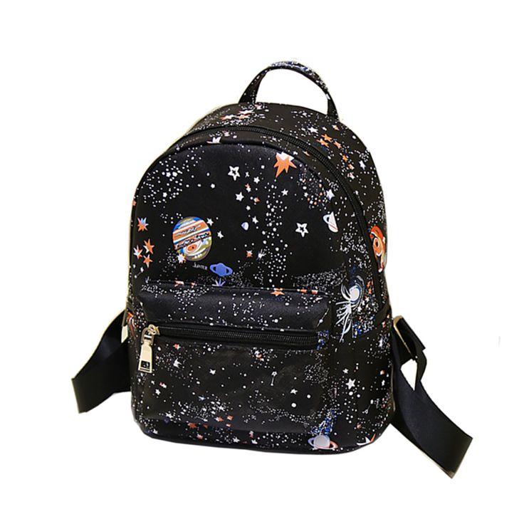 2017 Fashion Backpack Women  Star Universe Space printing Pu Leather  Travel Rucksacks Shoulder For Girls Backbag Mochila