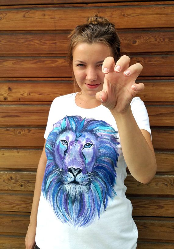 Spirit Lion - White, Hand Painted Women's T-Shirt, Shaman Collection, Spirit Animal, White Round neck Cotton Shirt, Machine Washable