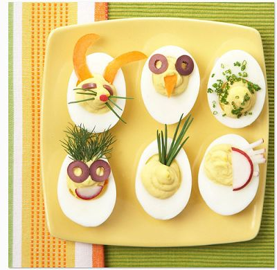 Creative Boiled Eggs (Source : http://cuisinedeparadise.blogspot.fr/2013/05/creative-boiled-eggs.html) #food #kids #eggs