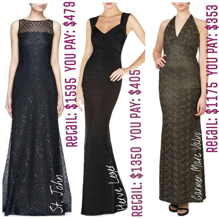 Gorgeous designer gowns from St. John, Herve Leger, and Carmen Marc Valvo.