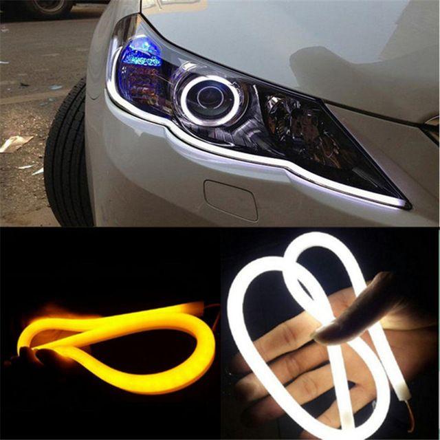 2x 60cm 12v Turn Signal Light Flexible Silicon Car Led Strip Lights Daytime Running Light Tube Auto Drl Blue White Yellow Review Car Headlights Car Car Led