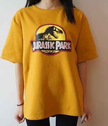 Dinosaur Print Vintage Harajuku Style Casual Summer Kawaii Shirts