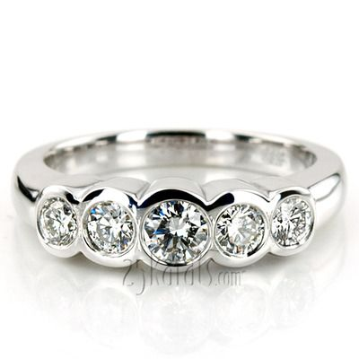 Bezel Set Five-Stone Diamond Wedding Band (0.74 ct.tw)