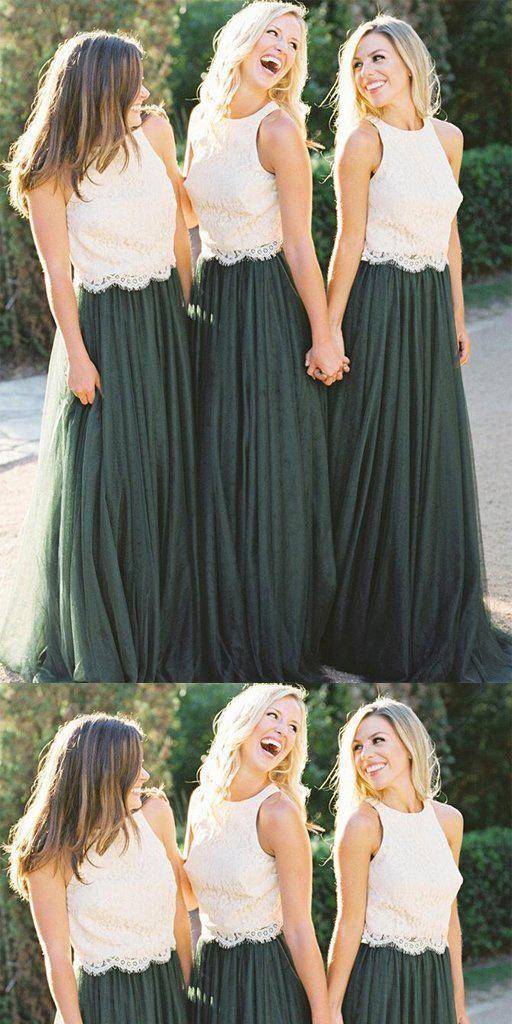 Two Piece A-Line White Lace Bridesmaid Dress  8069ed54ea82