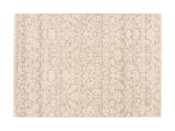 伝統的なダマスク織りのパターンが美しくデザインされているラグ。シックなカラーがモダンな雰囲気も感じさせます。